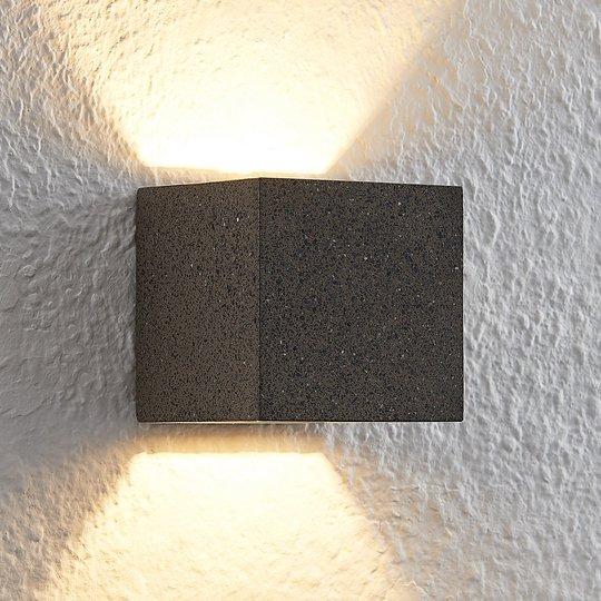 Lindby Quaso-LED-seinävalo betonia musta-graniitti