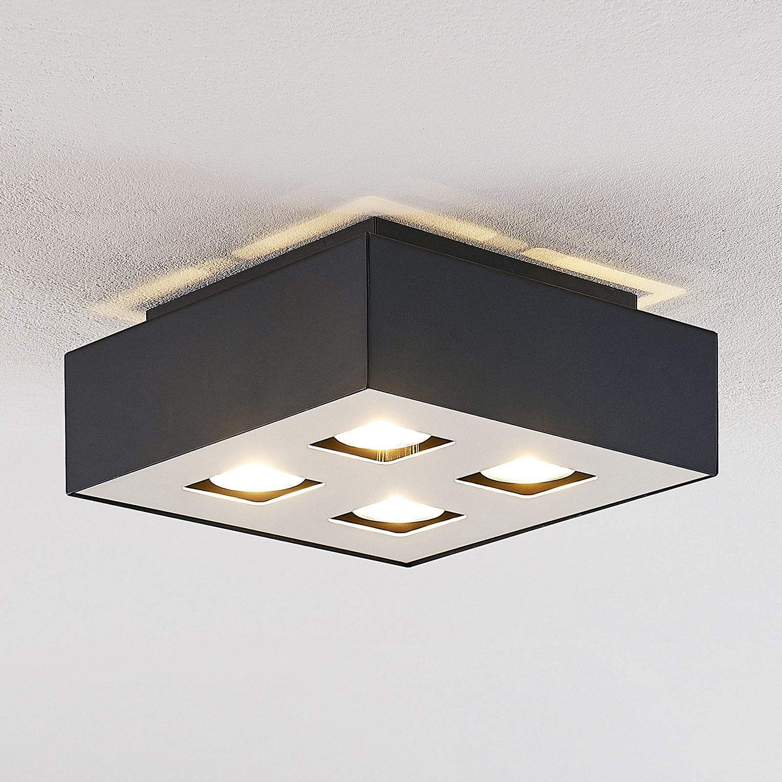 Lindby Kasi -kattovalaisin, musta, 4-lamppuinen