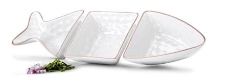 Fish serveringsskål vit 3 delar