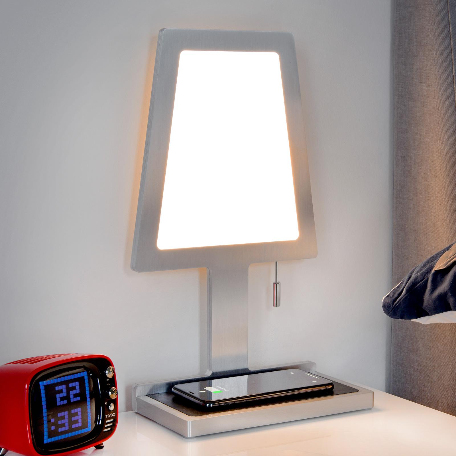 Pöytälamppu Steve Phone Trapez, QI-latausasema alu
