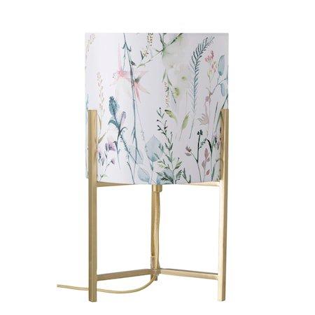 Bordlampe Blomstermønster og Gullfarget