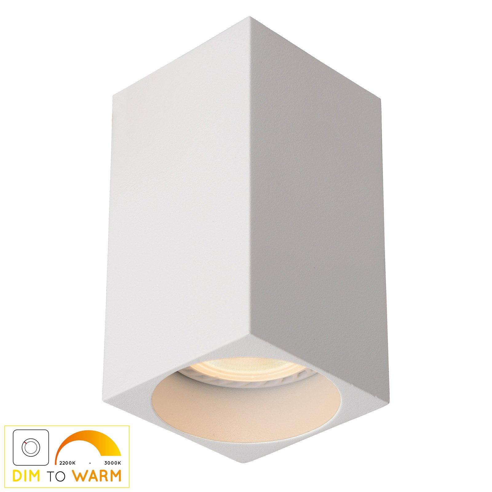 Delto LED-taklampe dim to warm, kantet, hvit