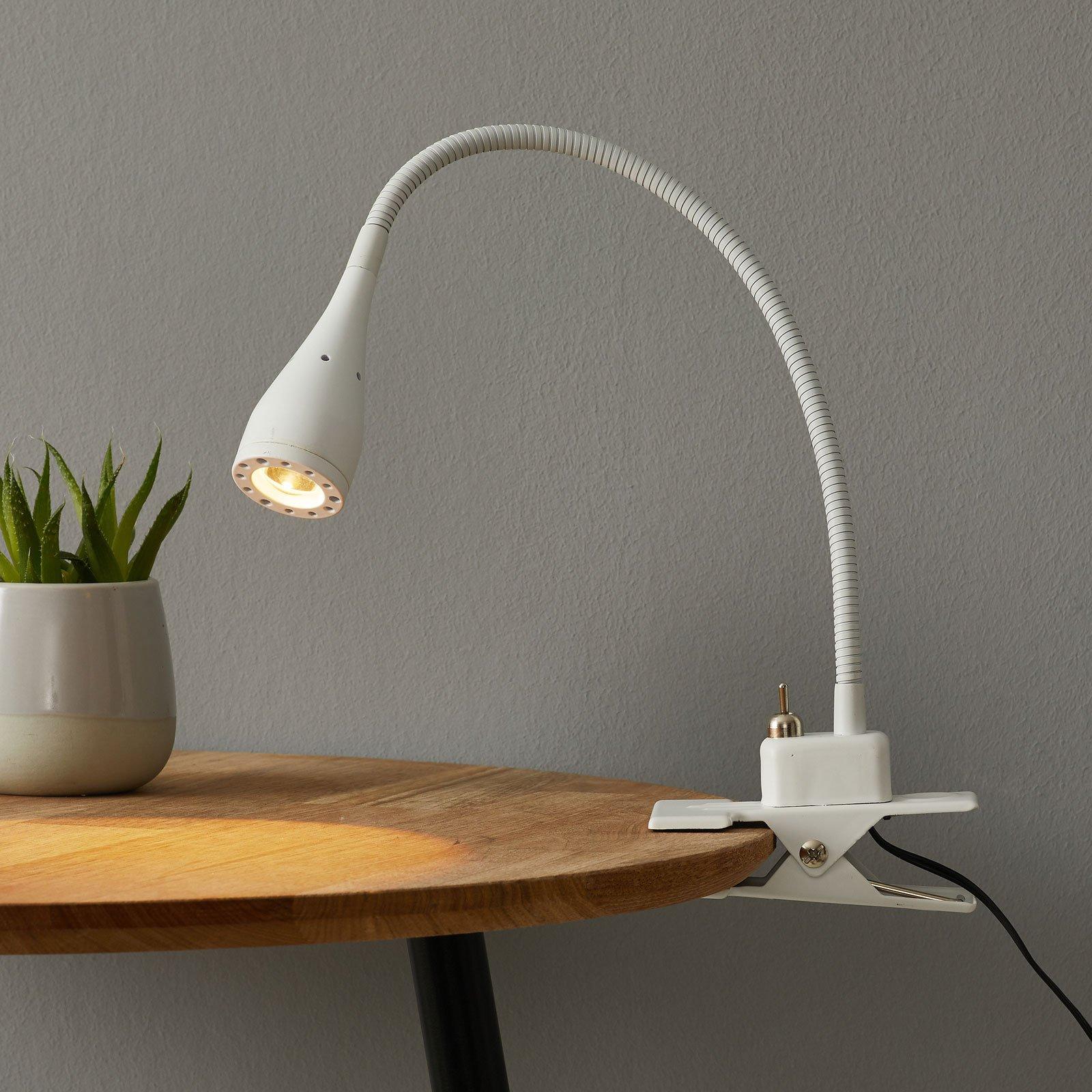 Fleksibel Mento LED-lampe i hvitt med klemme
