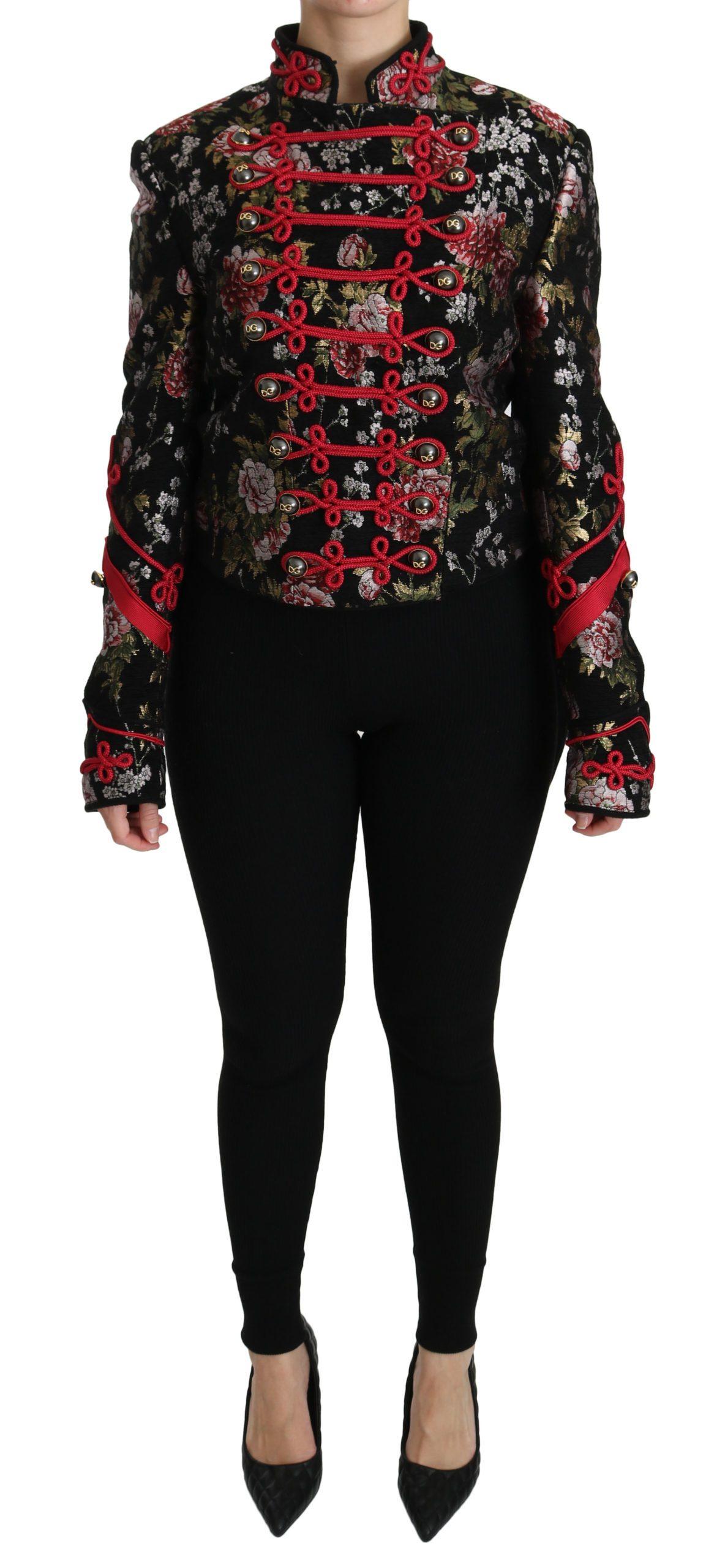 Dolce & Gabbana Women's Floral Print Jacquard Jacket Black JKT2491 - IT40|S