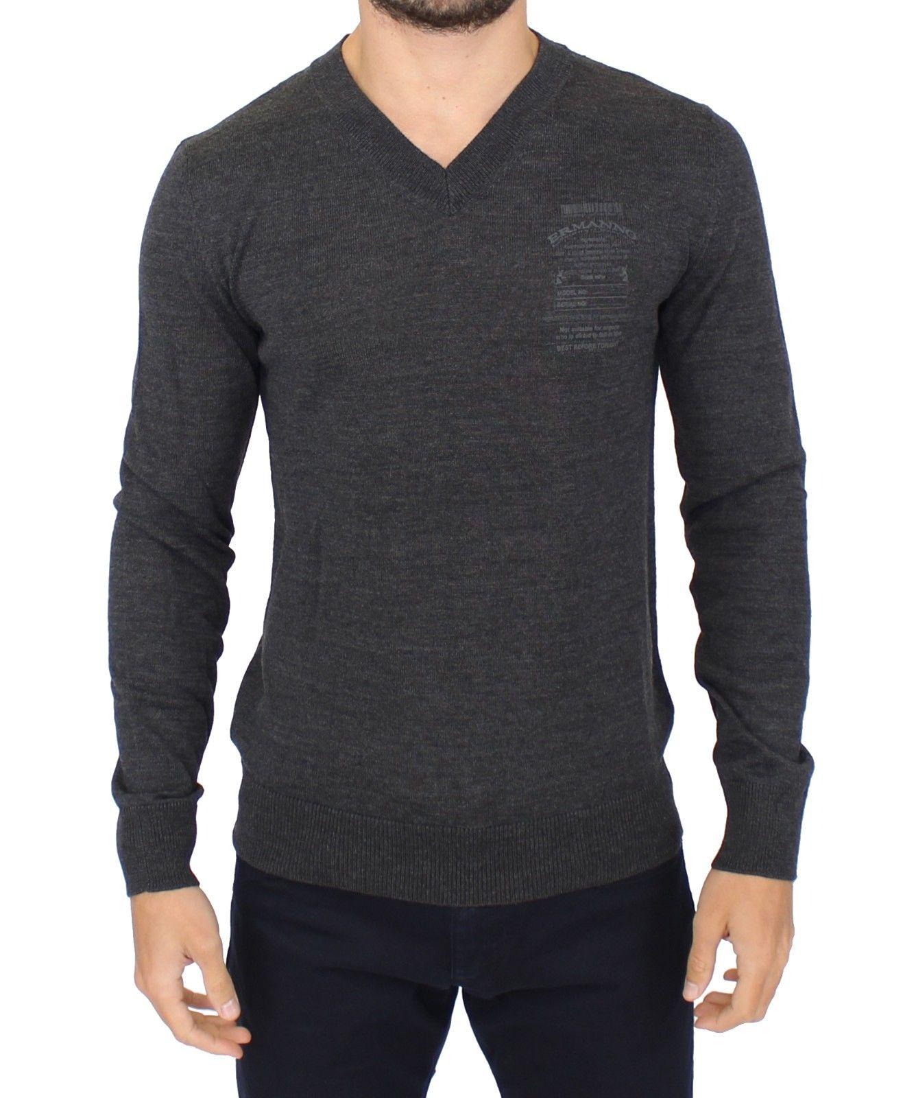 Ermanno Scervino Women's V-Neck Sweater Grey SIG10334 - IT58 | XXL