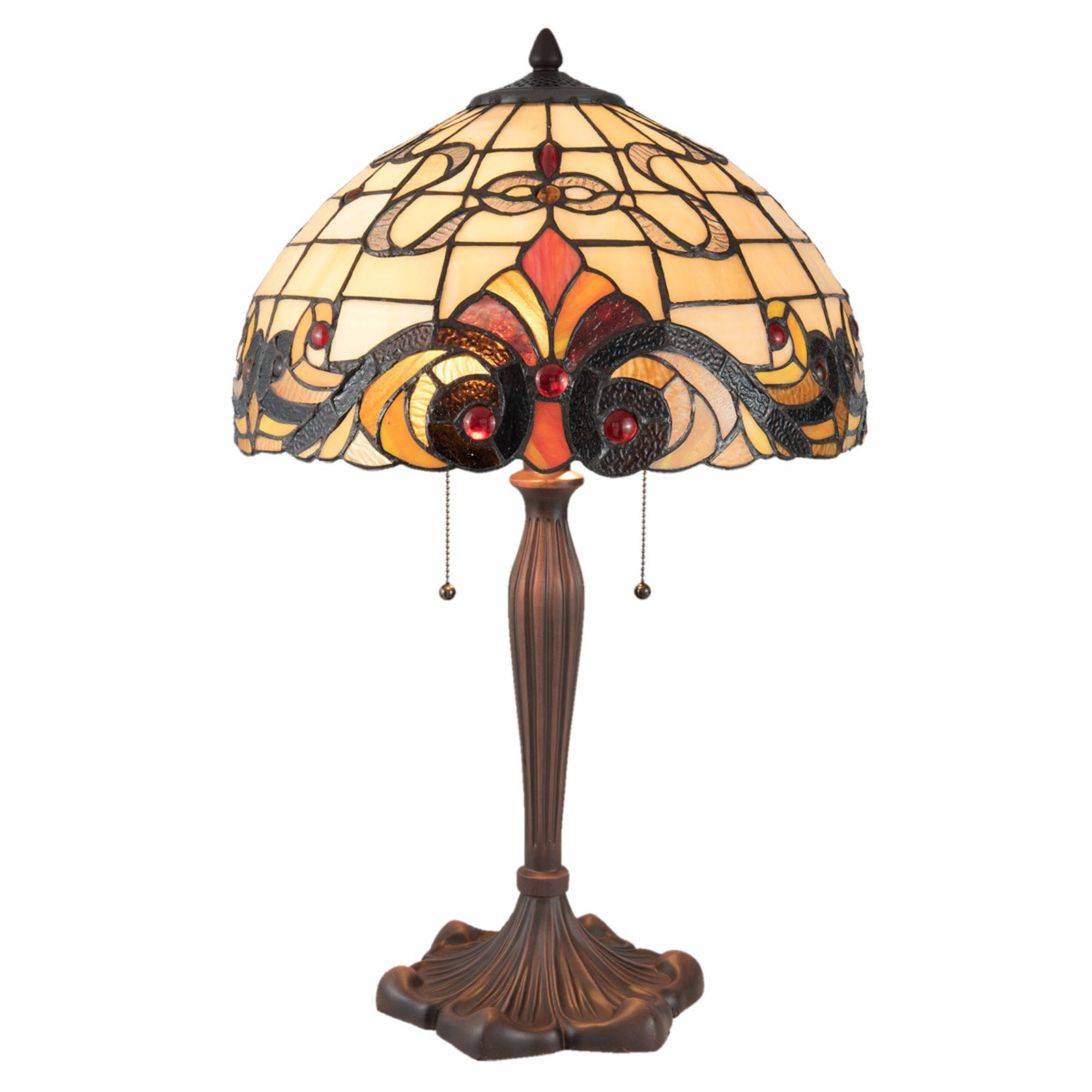 5925 bordlampe i Tiffany-stil, krem-rød