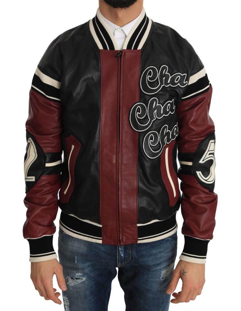 Dolce & Gabbana Men's Leather Club Lounge Jacket Black/Red JKT1103 - IT44   XS