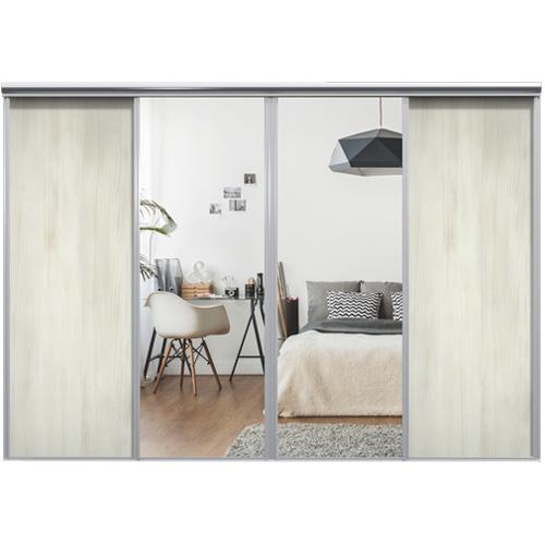 Mix Skyvedør White wood / Sølvspeil 3400 mm 4 dører