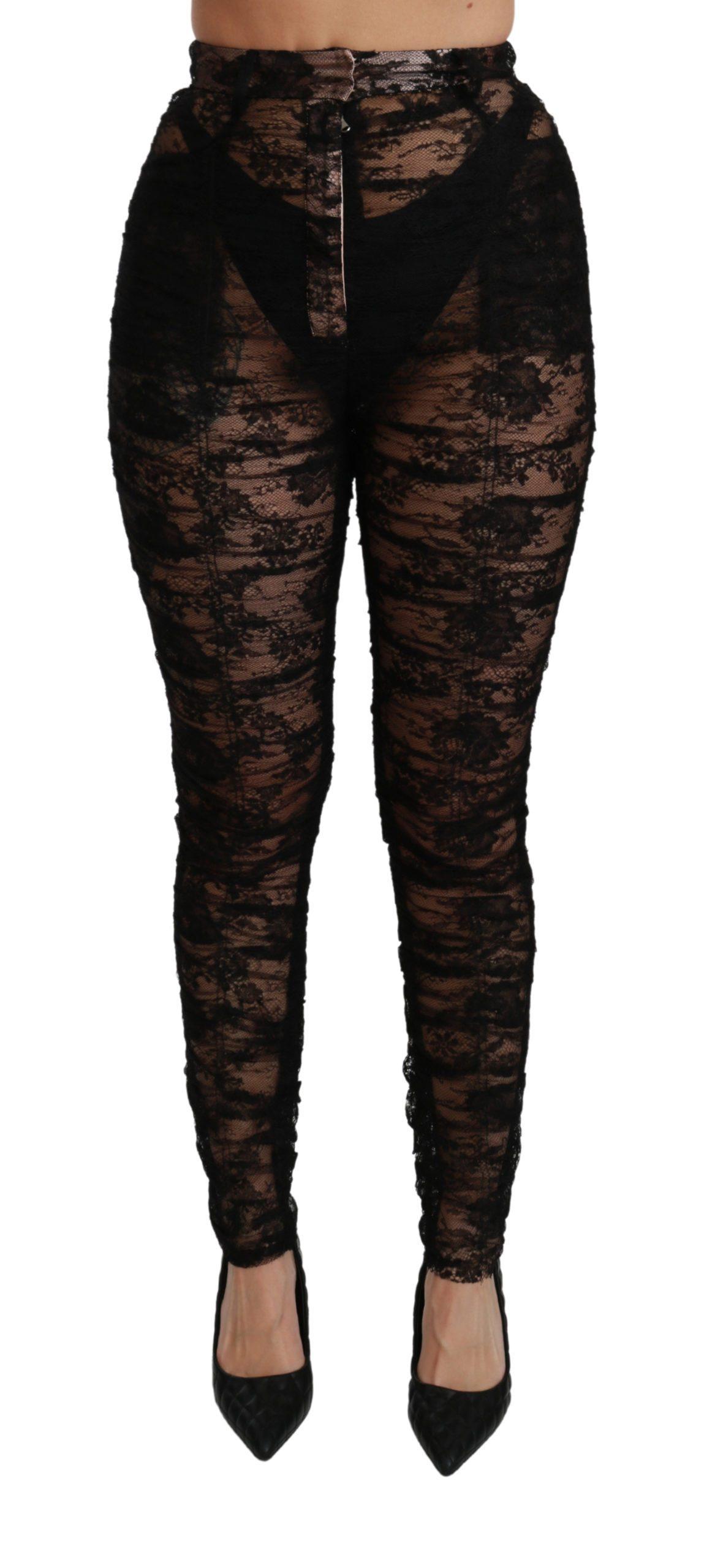 Black Lace High Waist Skinny Trouser Pants - IT40|S