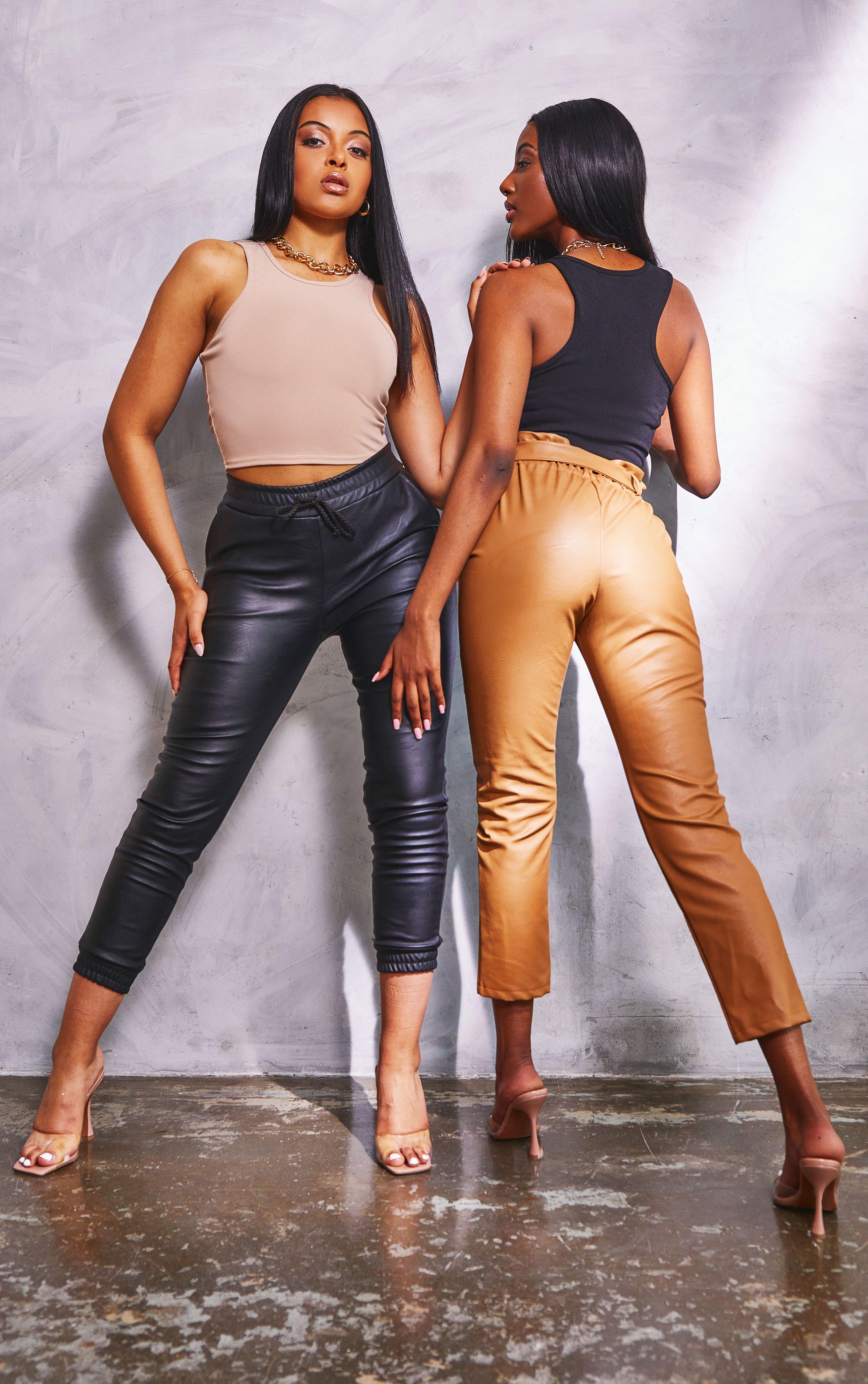 Leath PU Drawstring Trousers - Black / 8