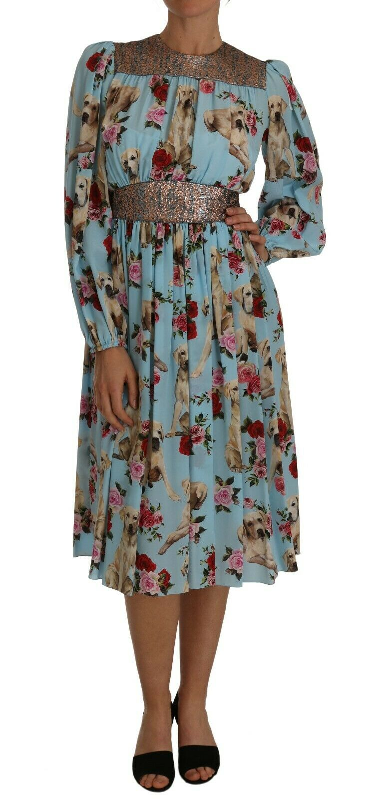 Dolce & Gabbana Women's Silk Labrador Dog Roses Print Dress Blue DR1433 - IT36 | XS