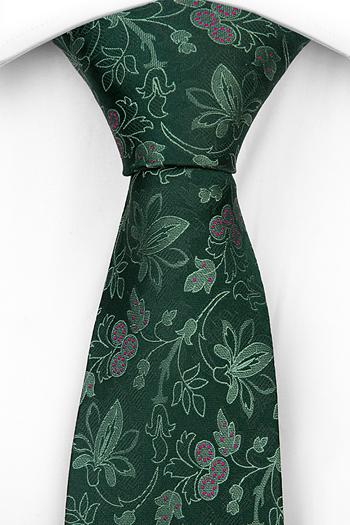 Silke Slips, Ljusgröna Blomster, mörkgrön bas, mörkrosa Prikker, Notch ZEPPO