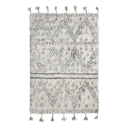 Håndvevd Ullteppe Hvit/Svart 120x180 cm