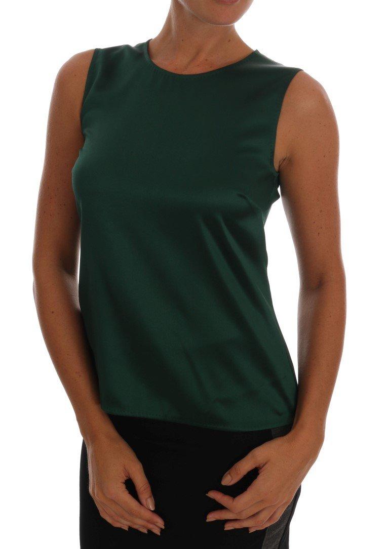 Dolce & Gabbana Women's Silk Stretch Tank Top Green TSH1054 - IT38 | S