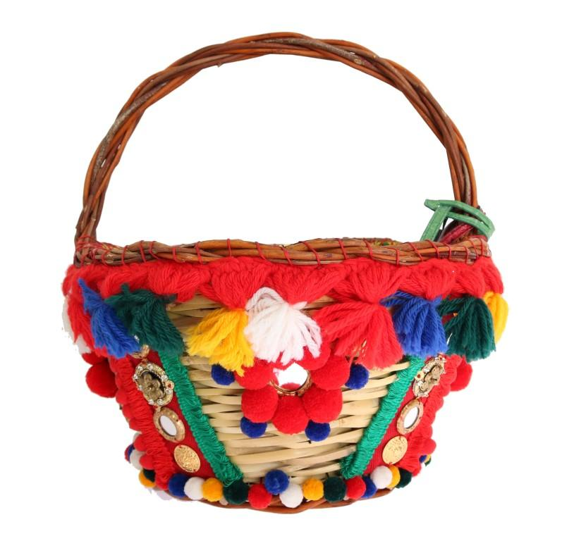 Dolce & Gabbana Women's AGNESE Straw Crystal Tote Bag Multicolor VAS1260