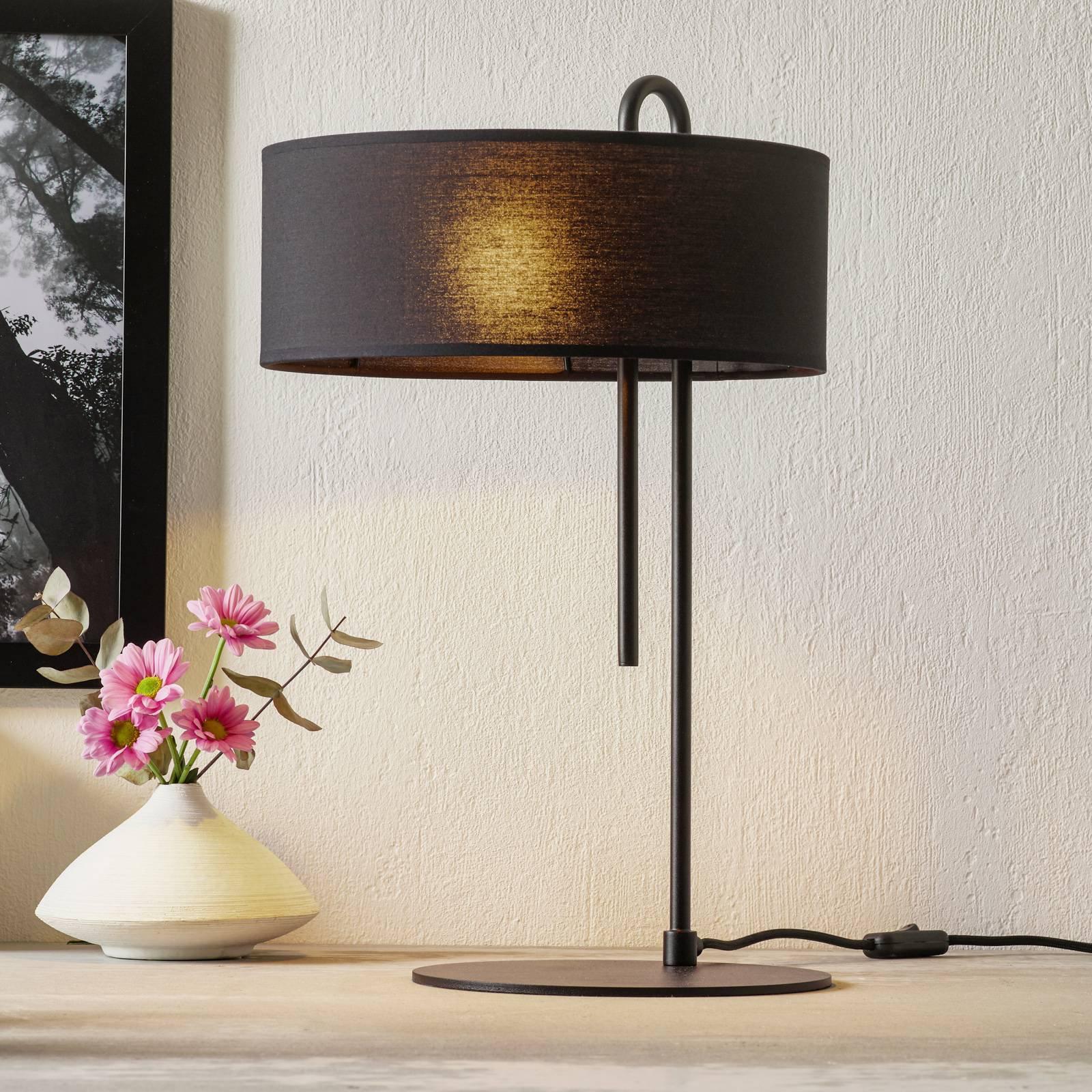 Tekstil-bordlampe Clip, svart, høyde 53 cm