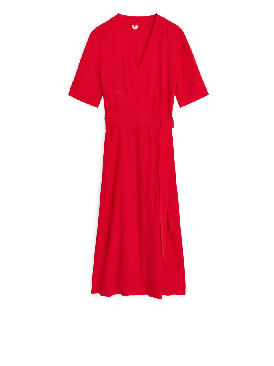 Flared Wrap Dress - Red
