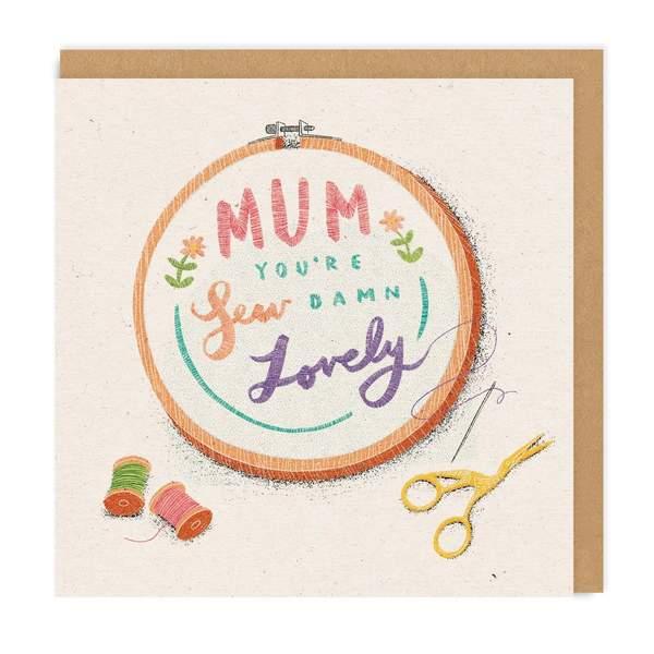 Mum, Sew Damn Lovely Square Greeting Card