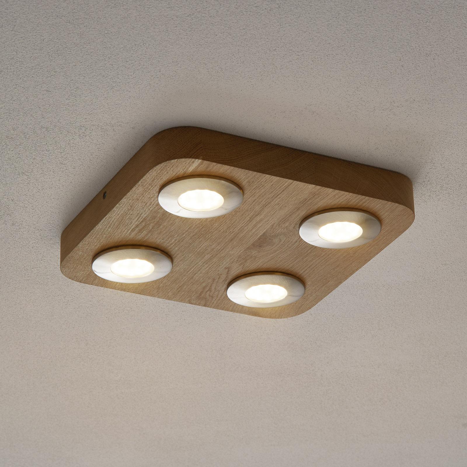 Nelilamppuinen LED-kattovalaisin Sunniva tammea
