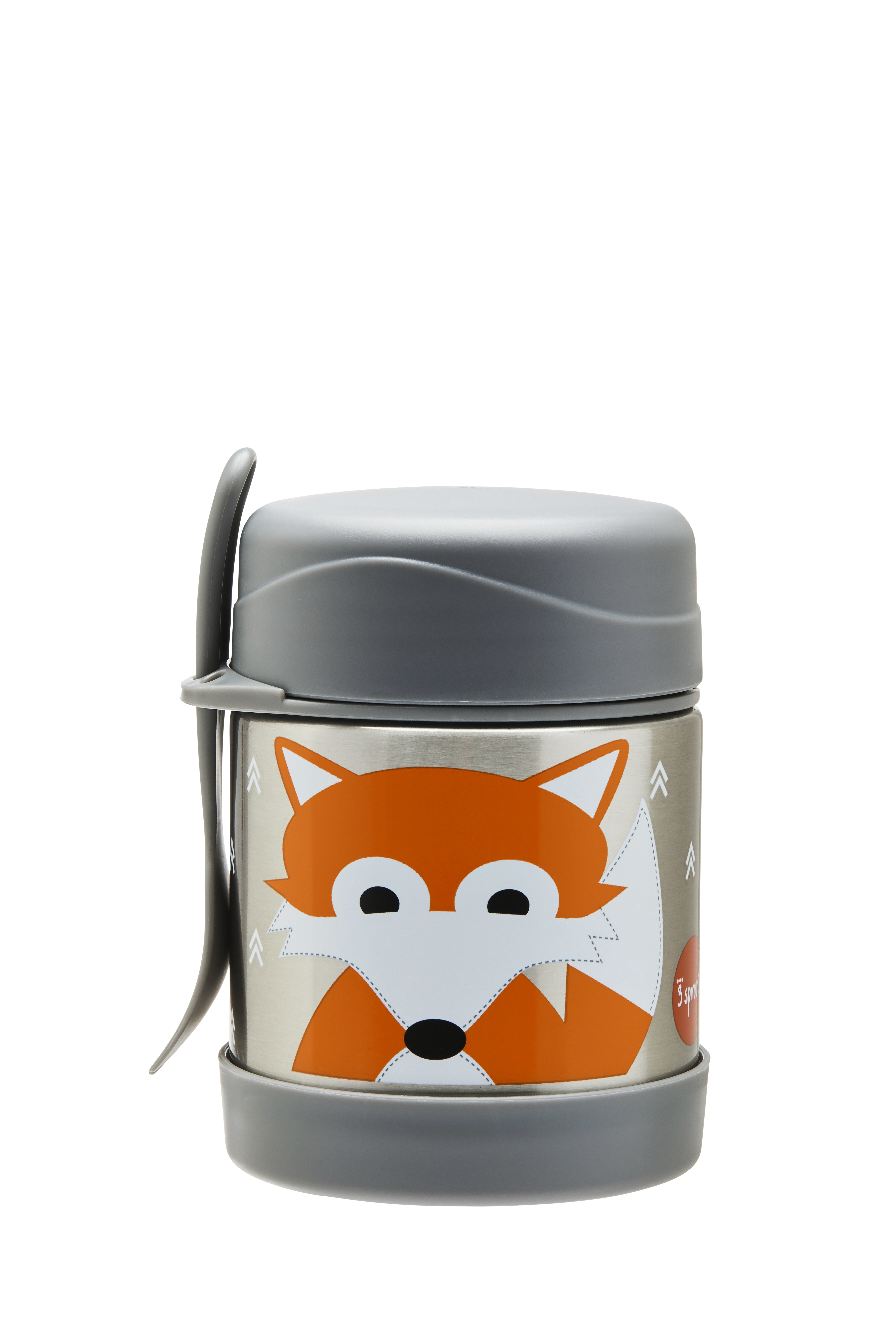 3 Sprouts - Stainless Steel Food Jar and Spork - Gray Fox