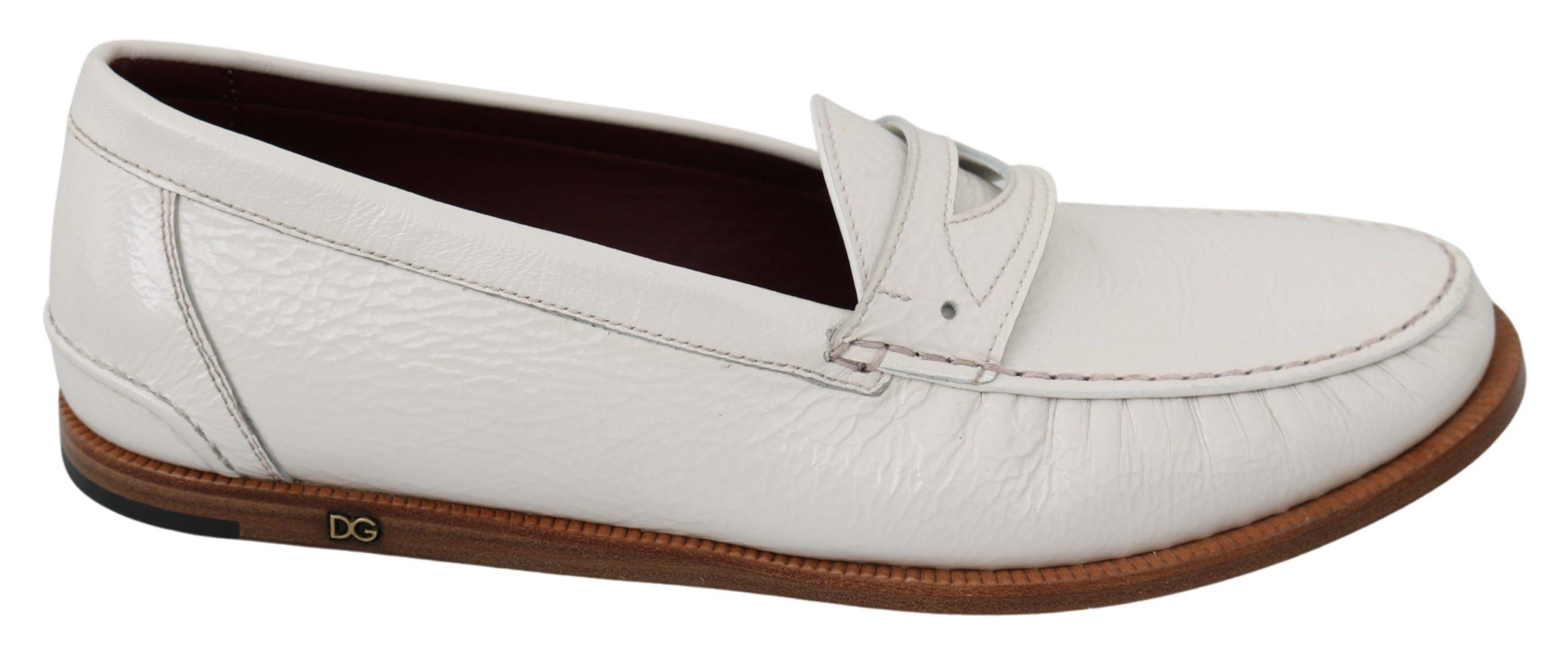 Dolce & Gabbana Men's Deer Skin Loafers White MV2875 - EU42/US9