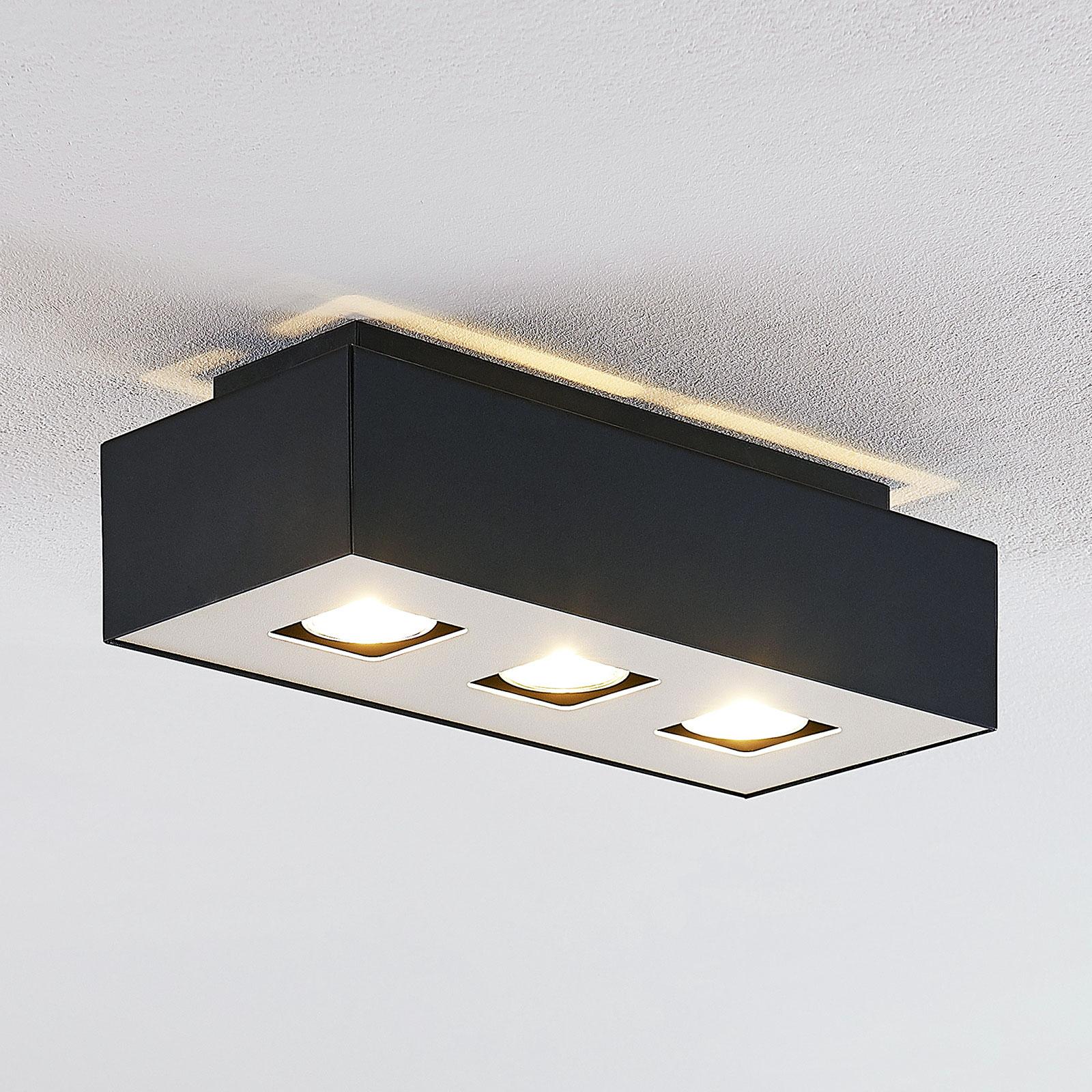 Lindby Kasi -kattovalaisin, musta, 3-lamppuinen