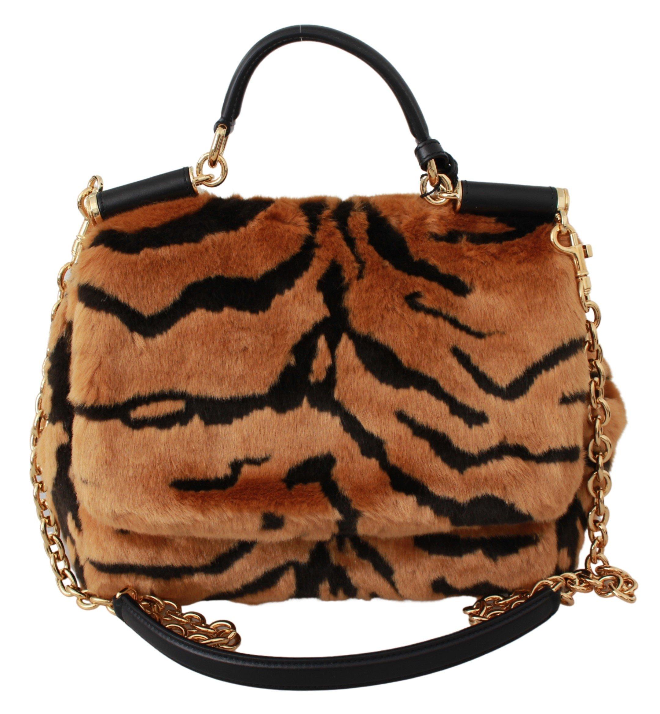 Dolce & Gabbana Women's Tiger Print Fur Sicily Shoulder Bag Brown VAS9469