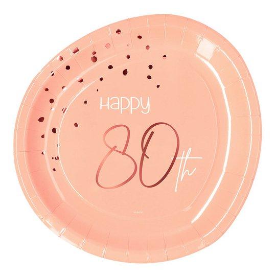 Papperstallrikar Happy 80th Lush Blush - 8-pack