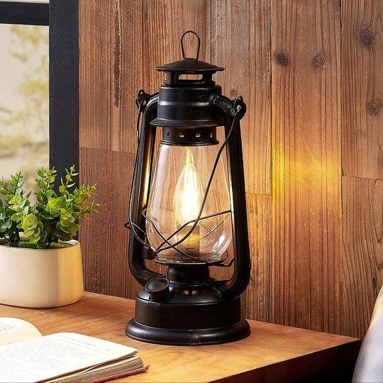 Lindby Raisa bordlampe, lykt, rustfarget