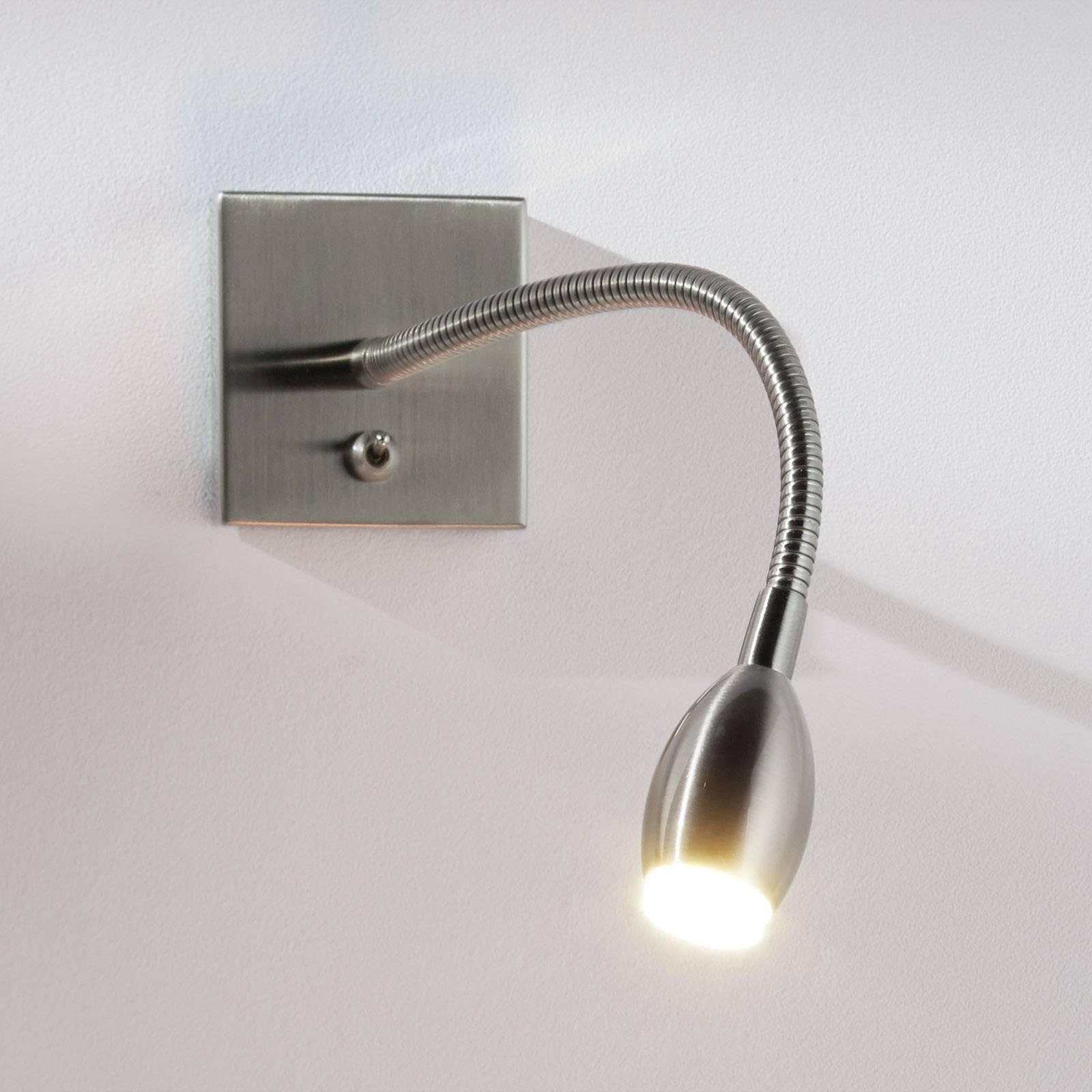 Nikkelfarget PILAR LED-vegglampe med fleksibel arm
