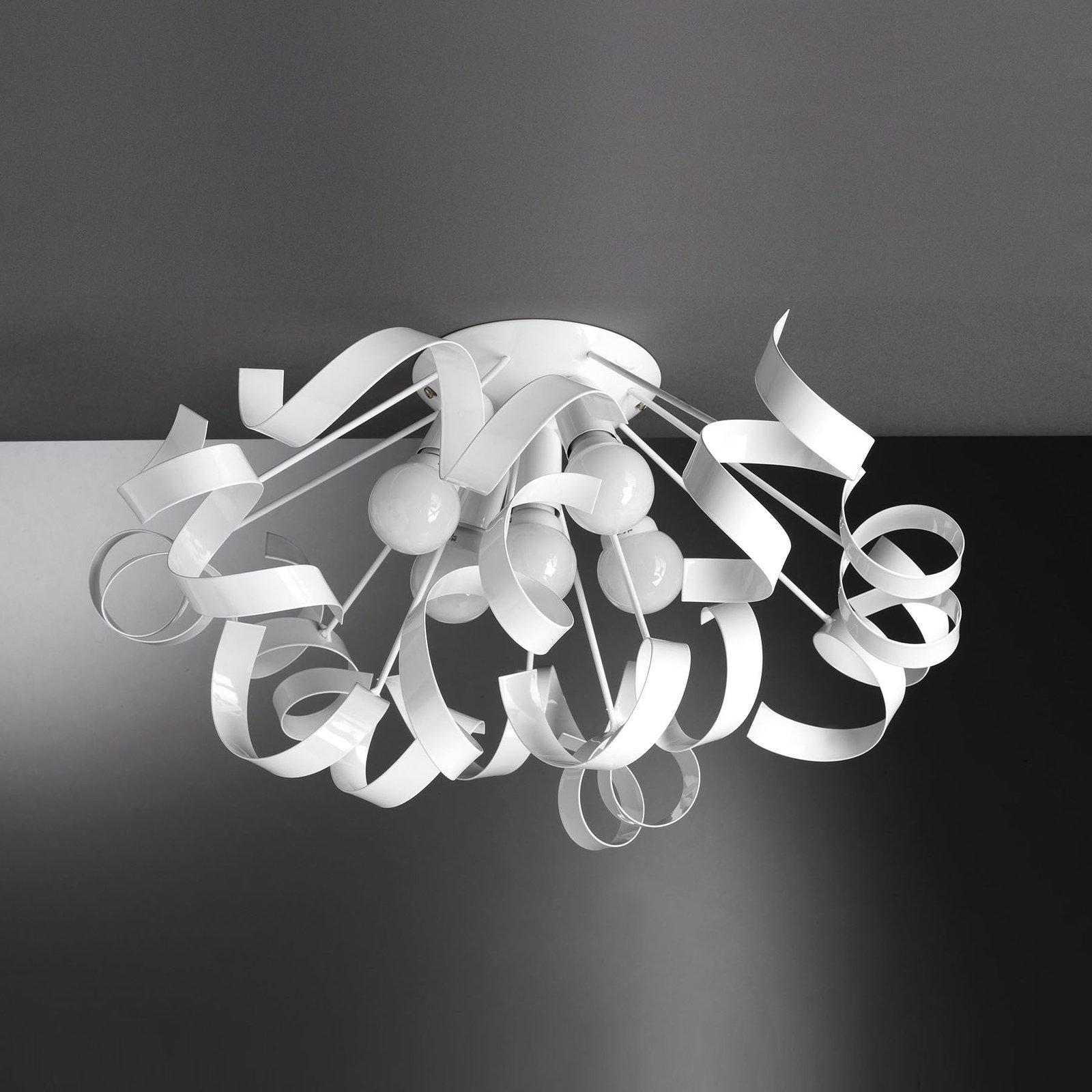 Taklampe Zoe av metall, 5 lyskilder, hvit