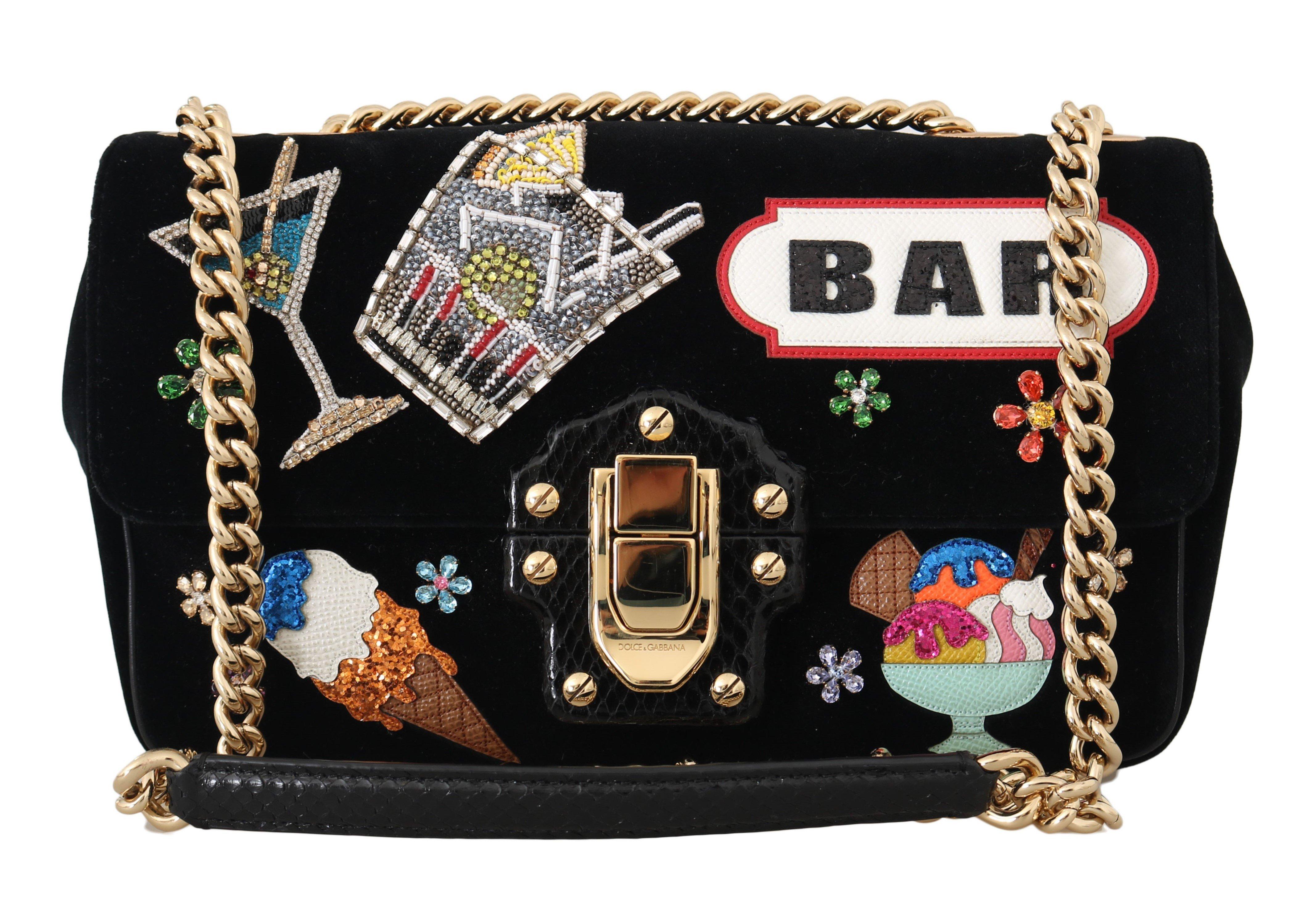 Dolce & Gabbana Women's Crystal BAR Shoulder Bag Black VAS15102