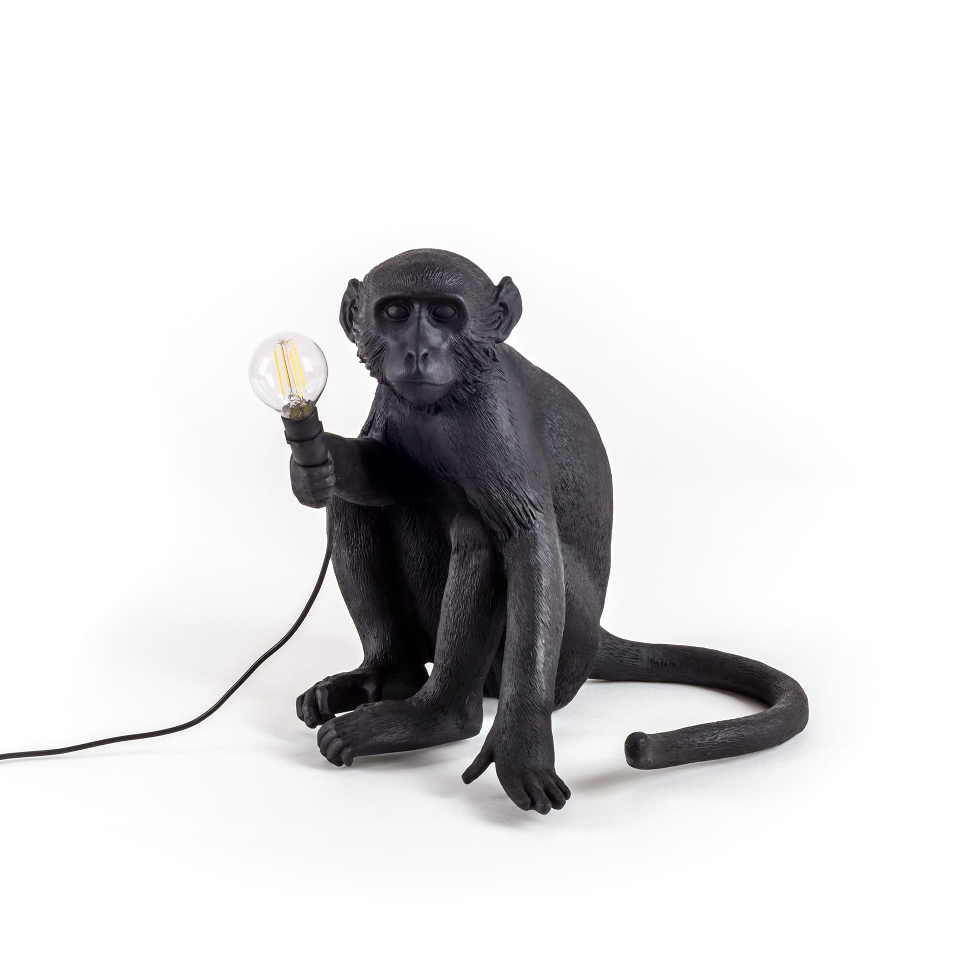 Lampa apa sittande utomhus svart