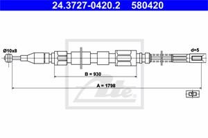 Vaijeri, käsijarru, Takana, MERCEDES-BENZ T1 Buss [601, 602], T1 Flak/chassi [601, 602], T1 Skåp [601, 611, 602], 601 420 11 85, A 601 4