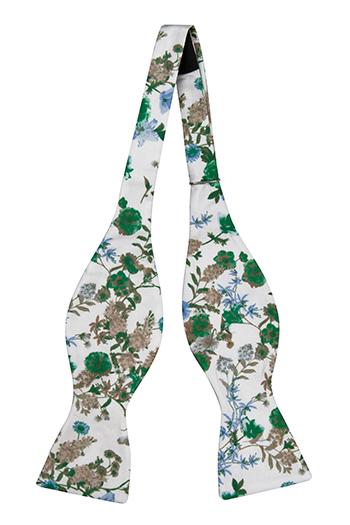 Silke Sløyfer Uknyttede, Grønne, blå og beige blomster på hvitt
