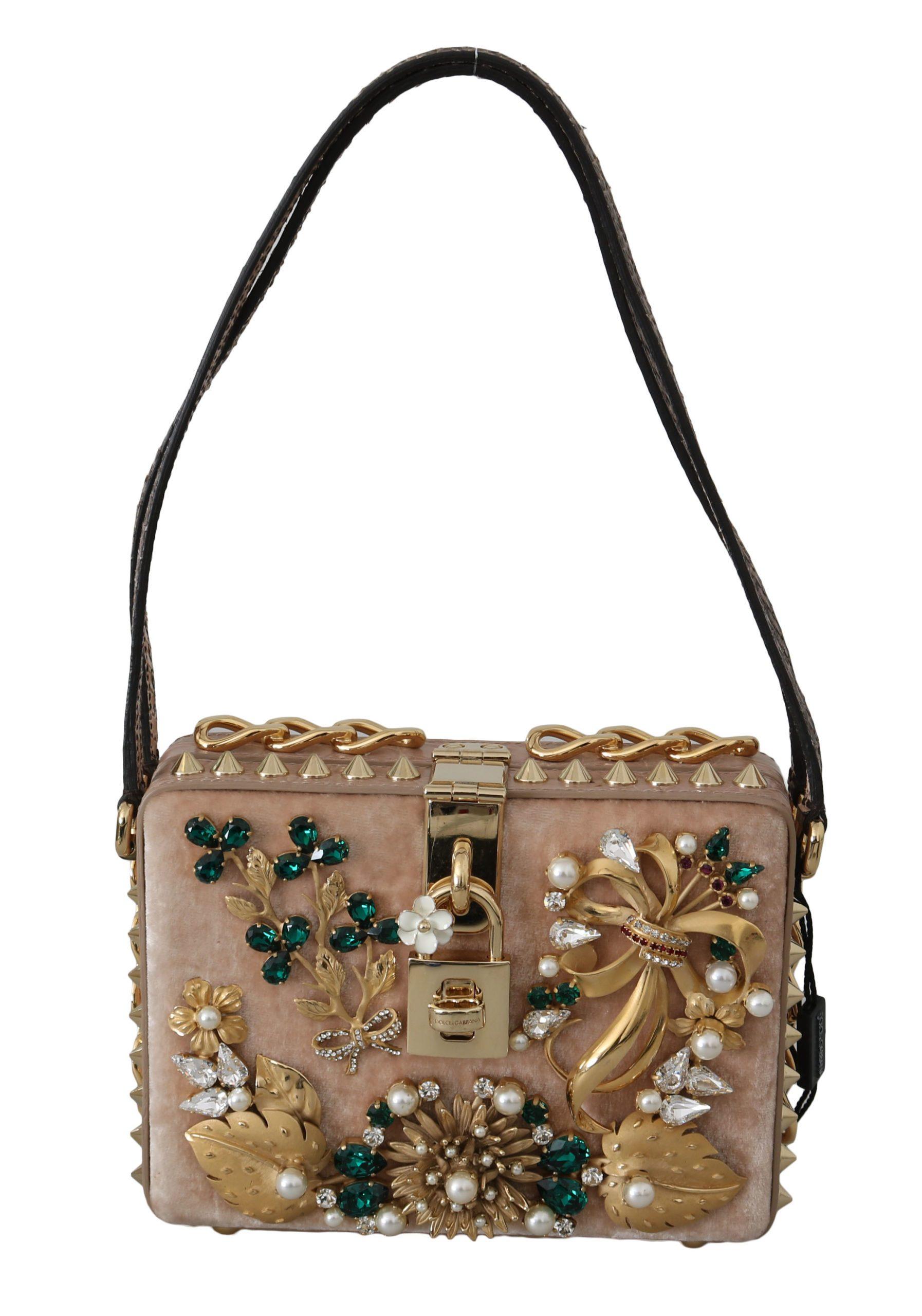 Dolce & Gabbana Women's Leather Crystal Clutch Bag Gold VAS8673