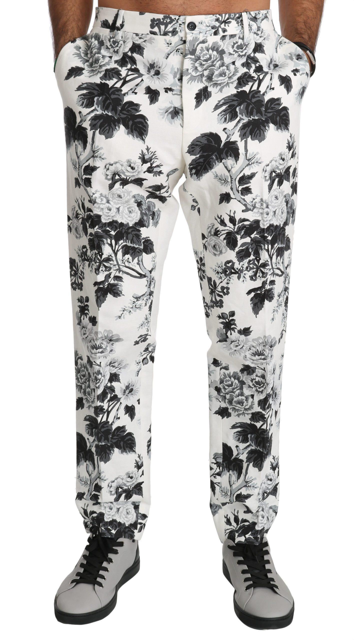Dolce & Gabbana Men's Floral Slim Casual Trouser White PAN70791 - IT44   XS