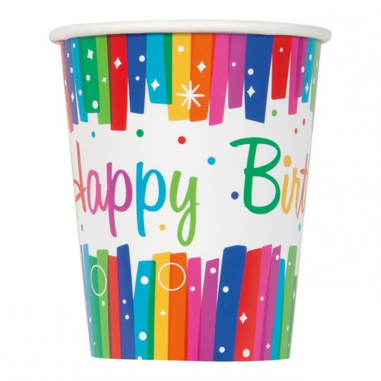 Pappersmuggar Happy Birthday Regnbåge - 8-pack