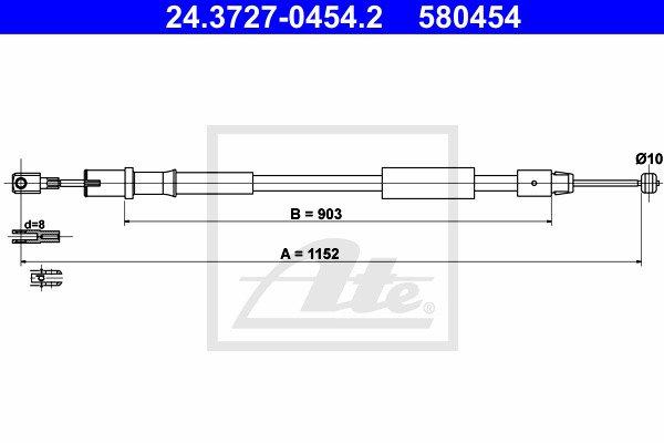 Käsijarruvaijeri ATE 24.3727-0454.2