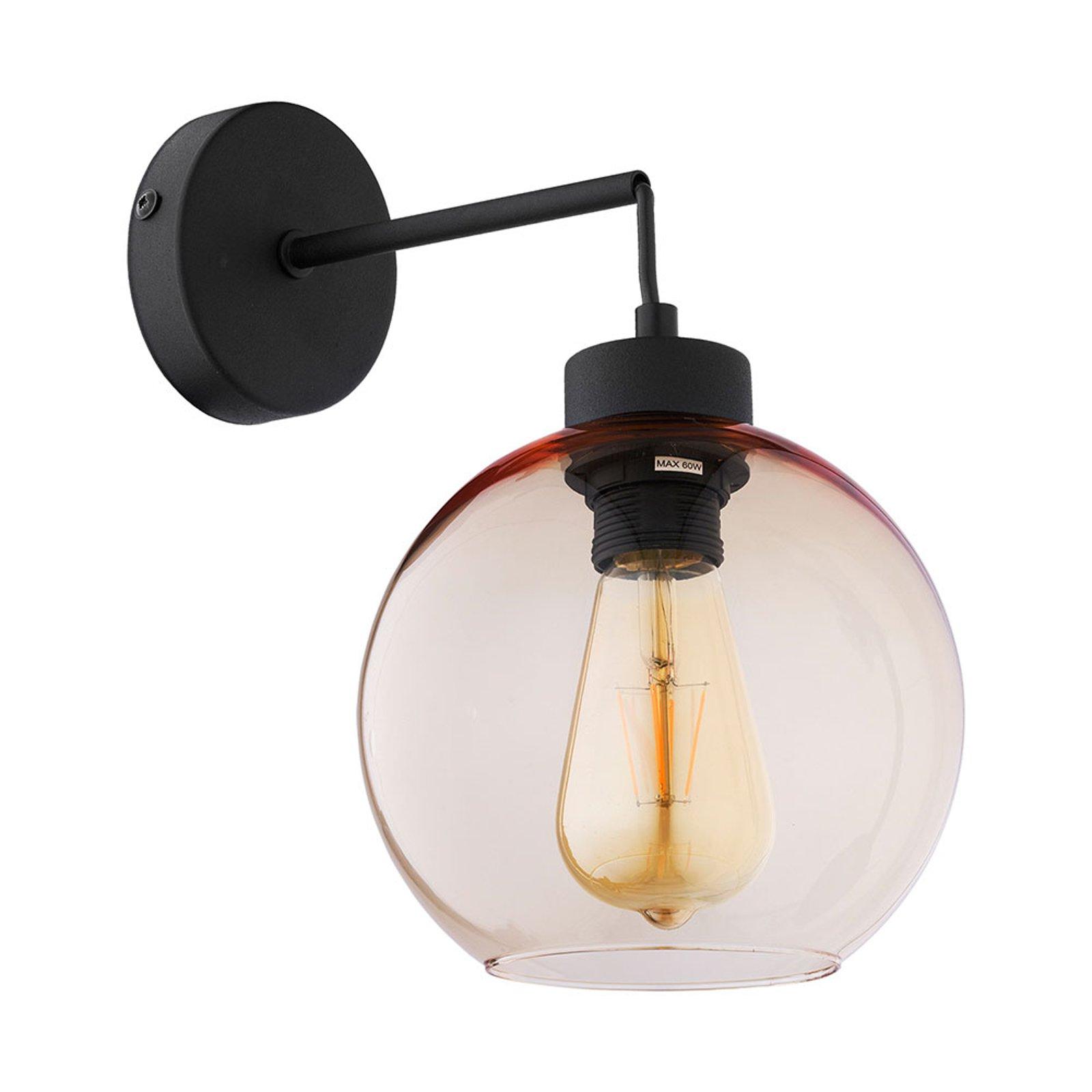 Vegglampe Cubus av glass, svart/bernstein