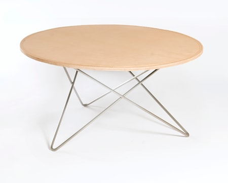 O-table leather soffbord – Nature/stainless