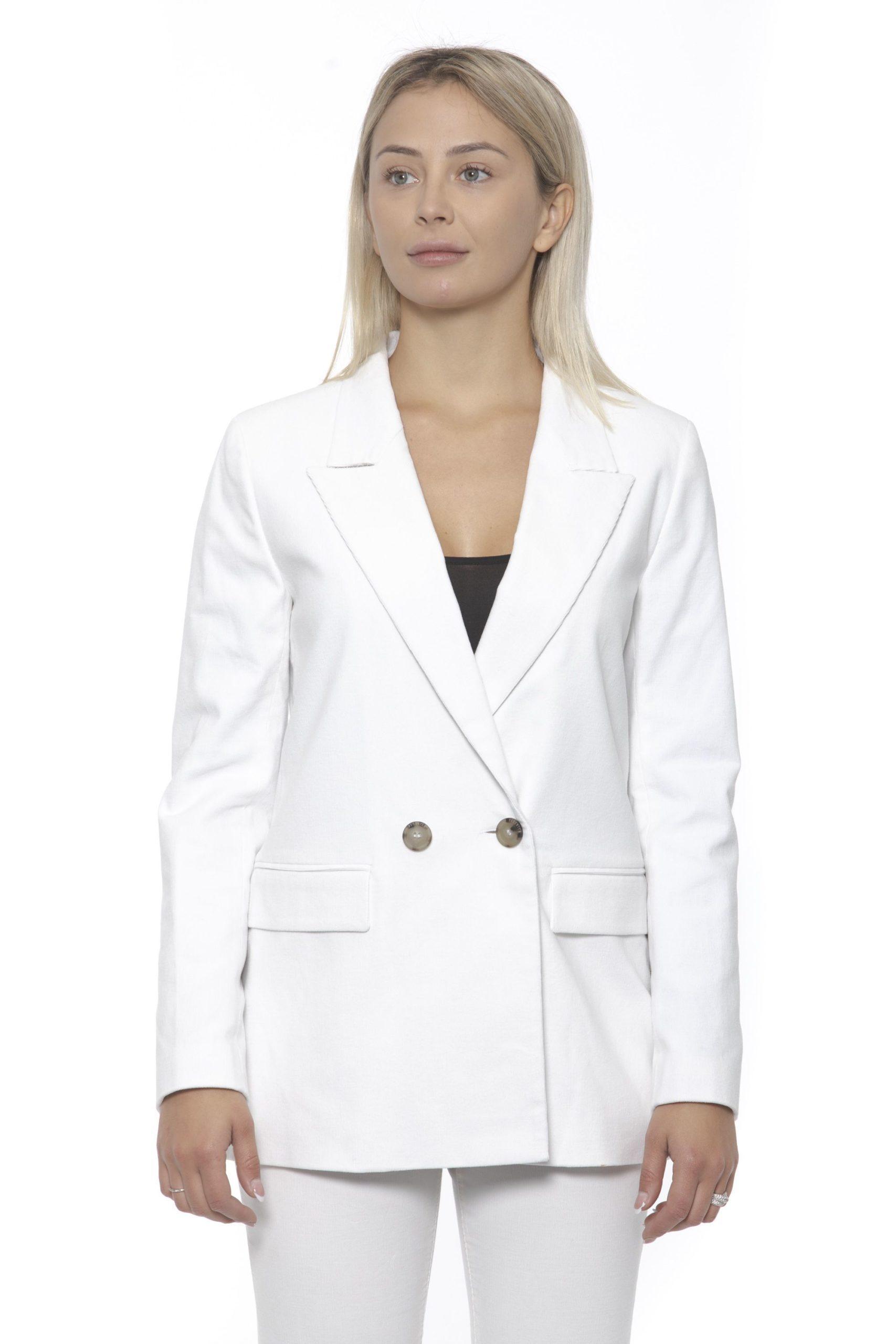 Peserico Women's Bianco Blazer Beige PE1383305 - IT42 | S
