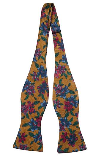 Silke Sløyfer Uknyttede, Sennepsgul med flerfargede blomster, Gull, Blomstrete