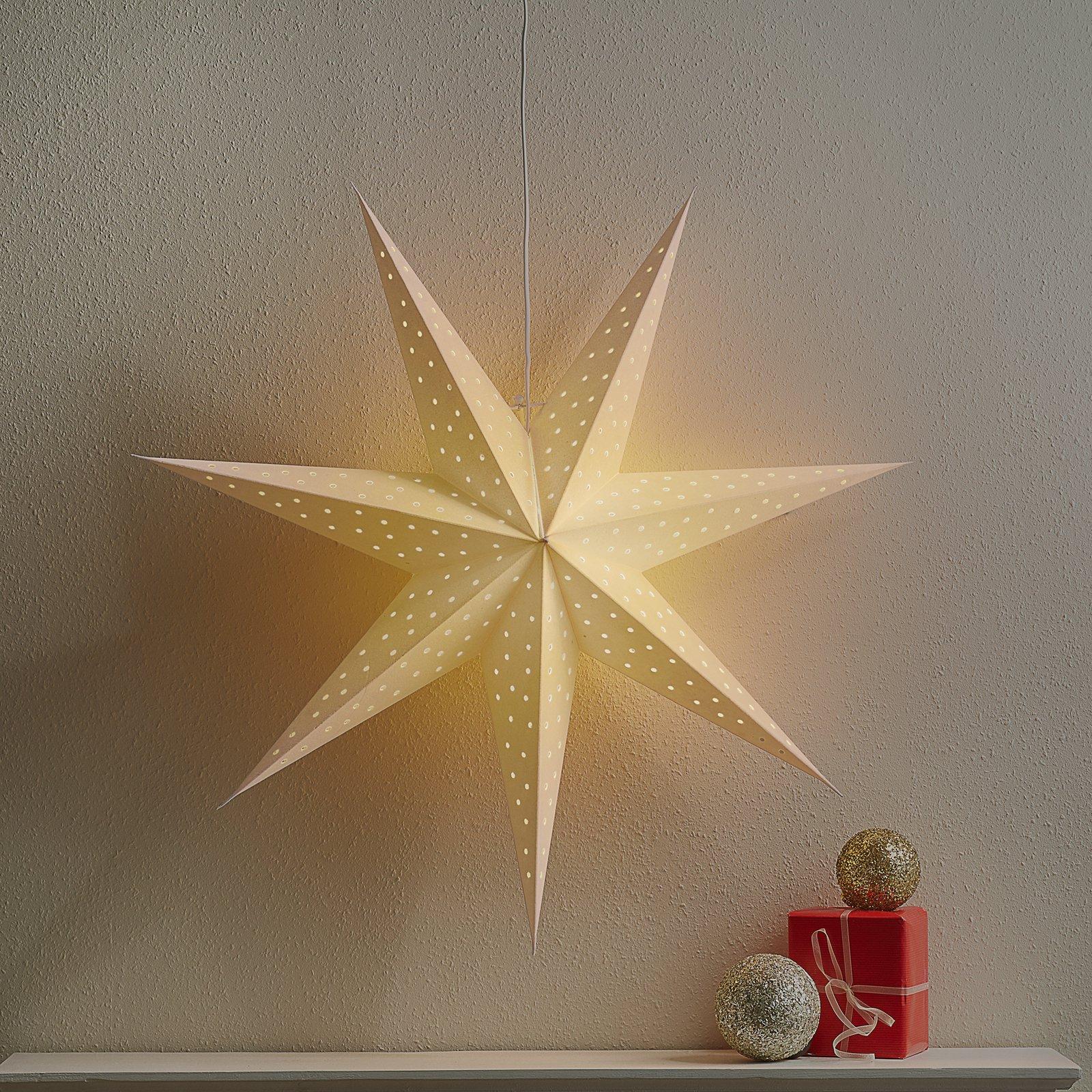 Stjerne Clara opph., fløyel-optikk Ø 75 cm, hvit