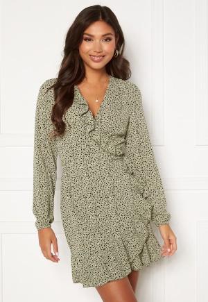ONLY Carly L/S Wrap Dress Seagrass / Multi Dot 42
