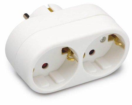 skjøteledning Vegg 2 kontakter Hvit 9cm