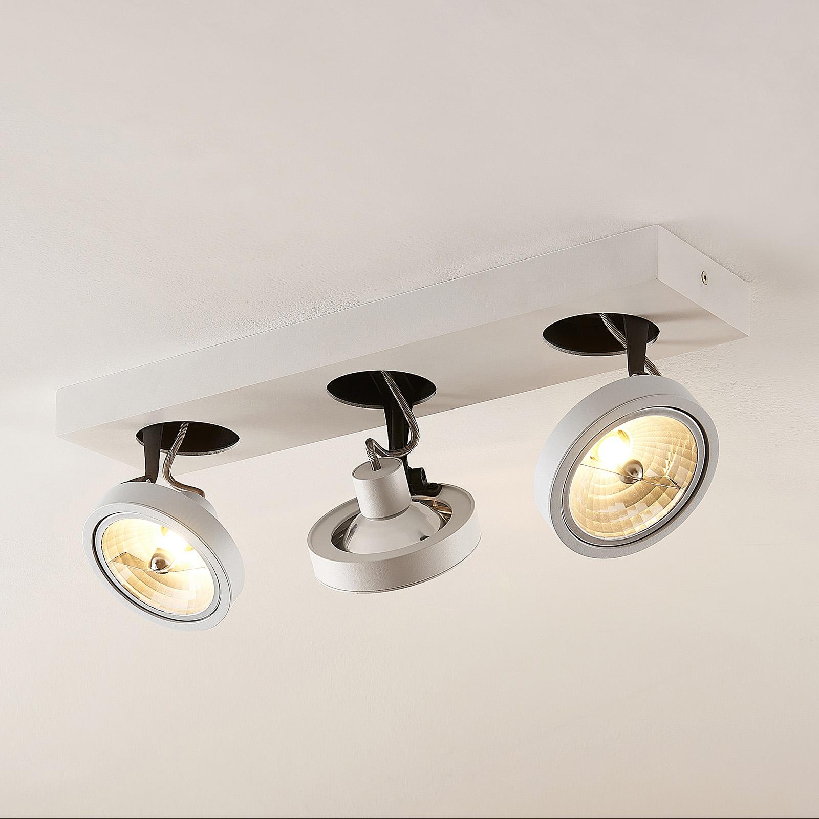 Arcchio Jorvin -kattovalo, 3-lamppuinen, valkoinen