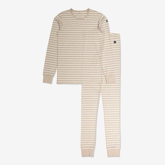 Stripet todelt pyjamas voksen beige