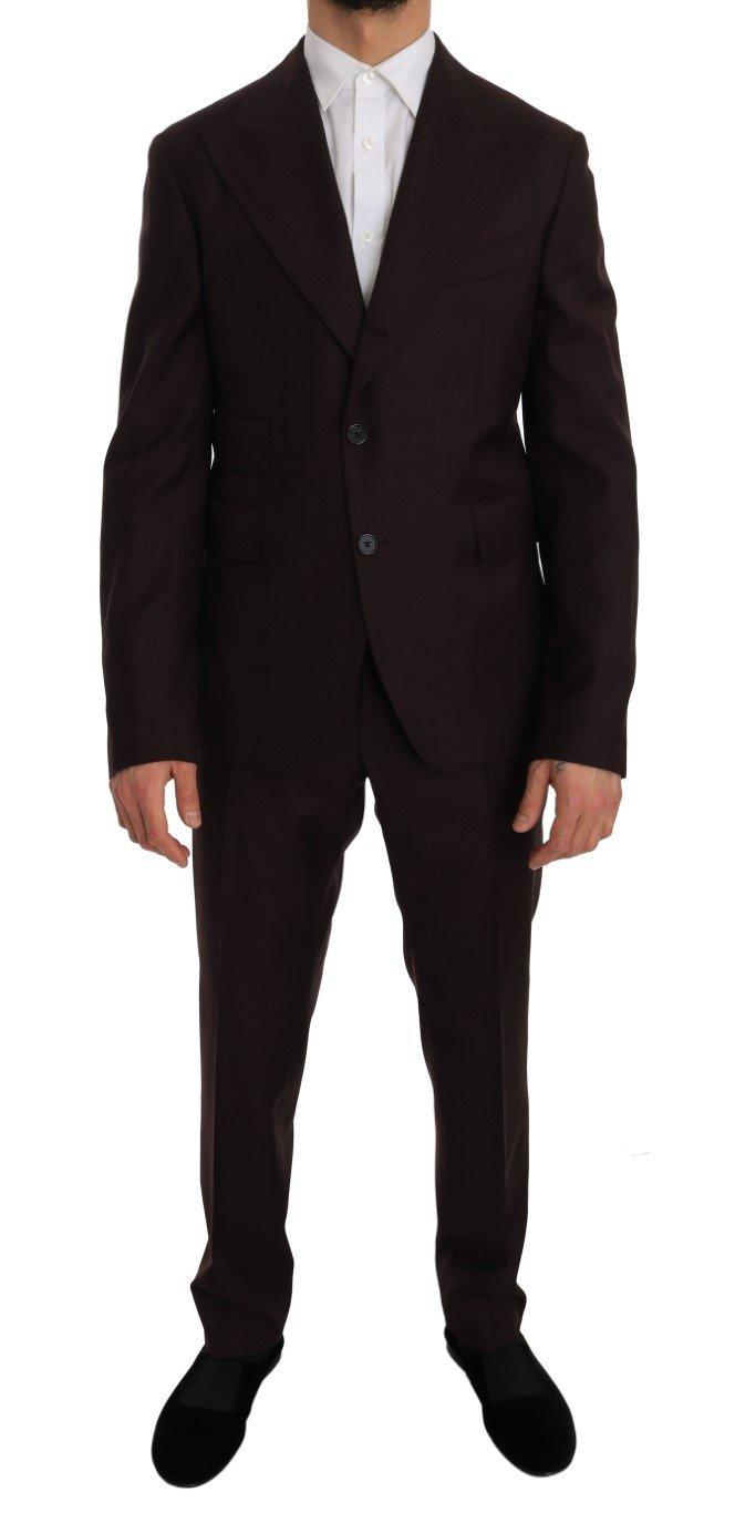 Dolce & Gabbana Men's Wool Two Button Slim Fit Suit Bordeaux JKT1244 - IT50   L