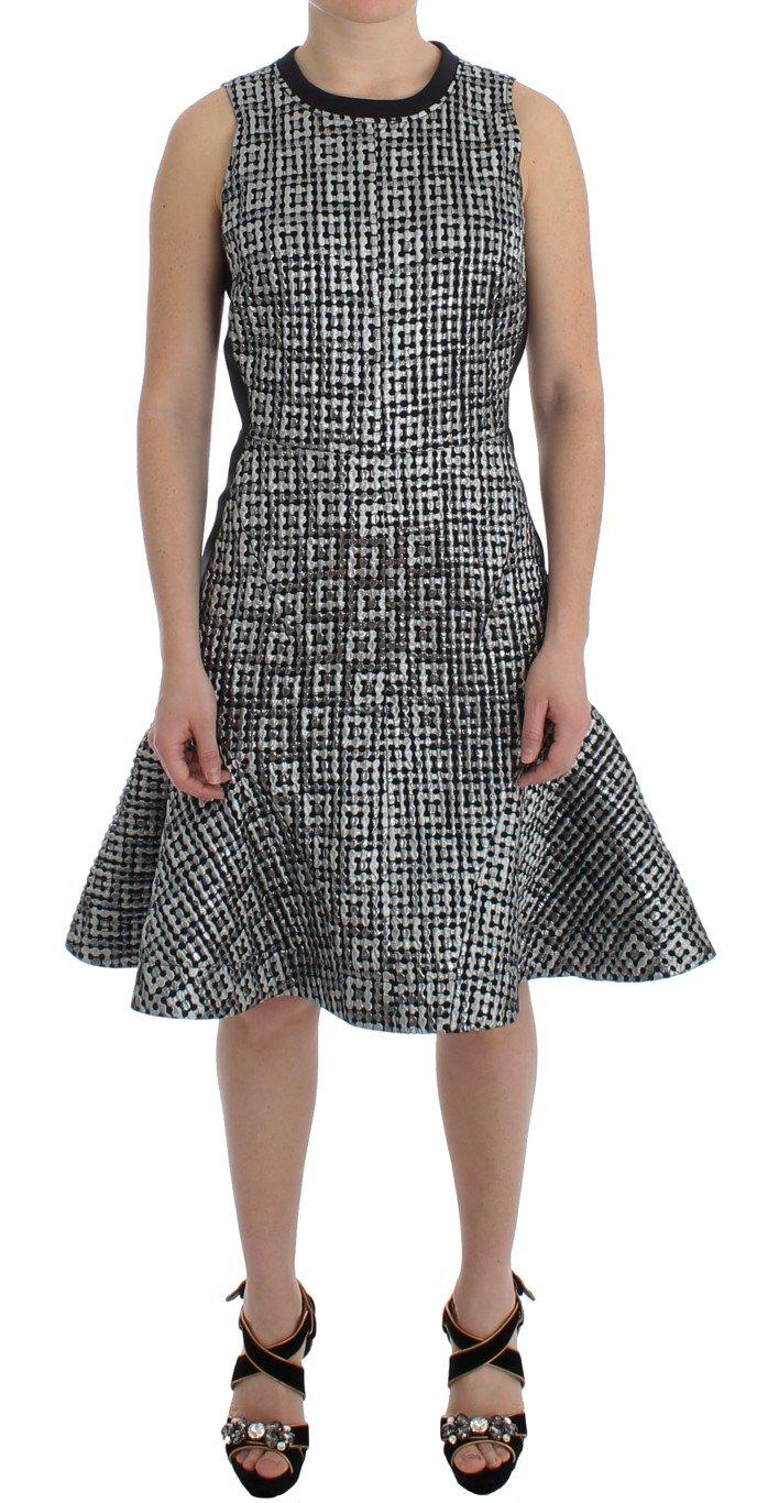 Koonhor Women's Metallic Jaquard Fluted Hem Shift Dress Silver SIG12704 - IT44|L